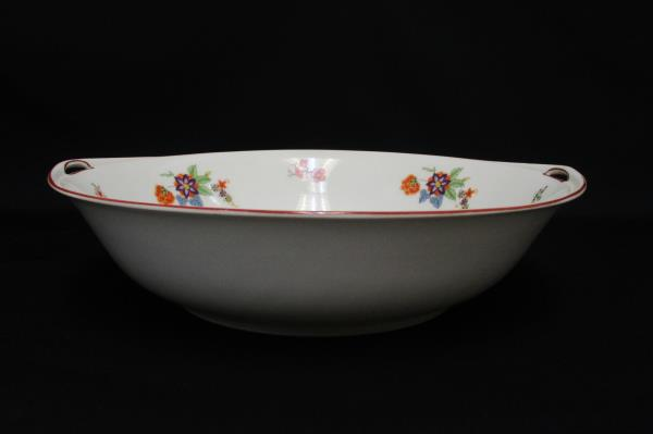 Bohemia Czechoslovakia Donatello Pattern Floral Round Handled Serving Bowl