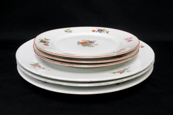 Bohemia Czechoslovakia Donatello Pattern Floral 3 Salad and 3 Dinner Plates
