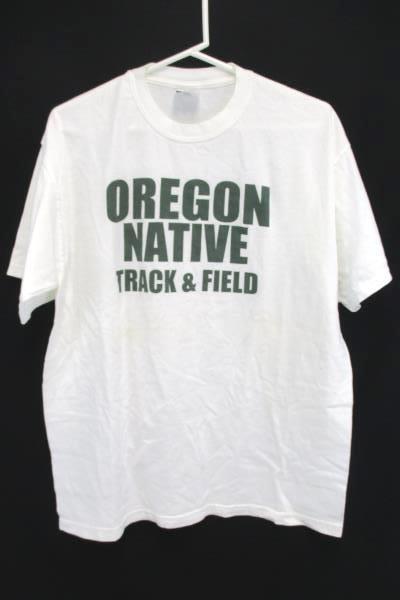 Oregon Native Track & Field T-Shirt White Green Athletic Men's Large