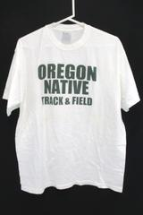 Oregon Native Track & Field T-Shirt White Green Athletic Men's Large