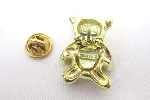 "Genuine Diamond Gold Tone ""Hug A Bear"" Pin/Brooch 1995 Signed Giusti"