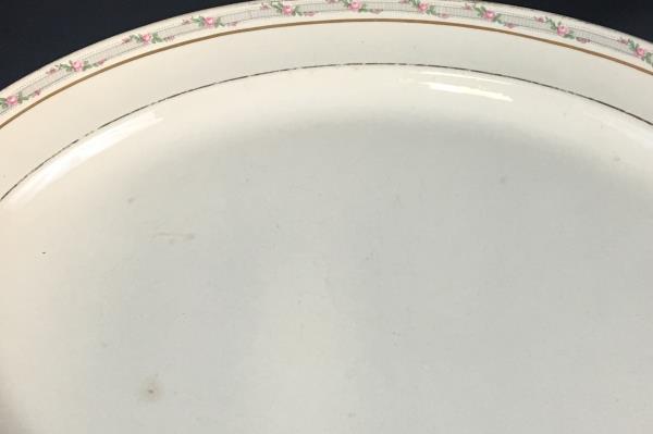 Taylor Smith & Taylor Oval Handled Serving Platter Rare Pattern TST257 Pink Rose