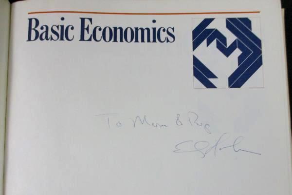 Signed Vintage Textbook Edwin G. Dolan Basic Economics Hardcover 1977 Dryden