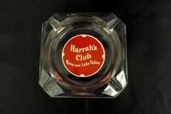 Vintage Clear Class Harrah's Club Reno and Lake Tahoe Ashtray Advertising