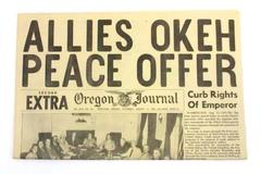 OR Daily Journal WWII Newspaper Aug 11 1945 Truman & Cabinet Japanese Surrender