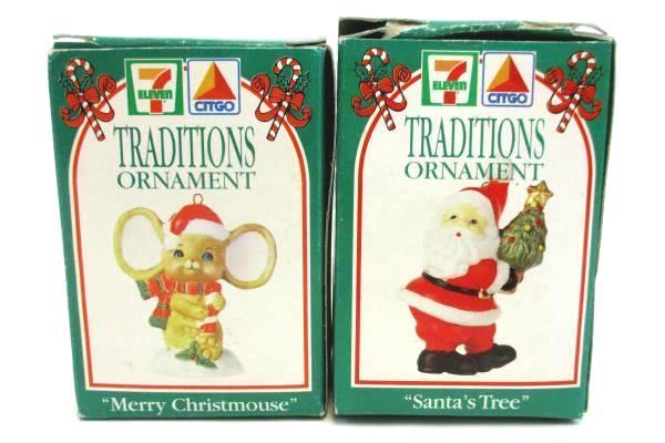 7-Eleven CITGO Traditions Ornament Merry Christmouse Santa's Tree Ornaments 1993