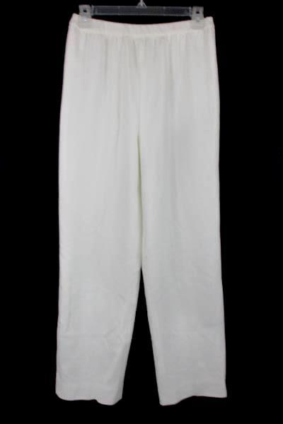 Women's Vintage WHITE Lined Polyester Pants Trousers Imported Fabric Made USA 10
