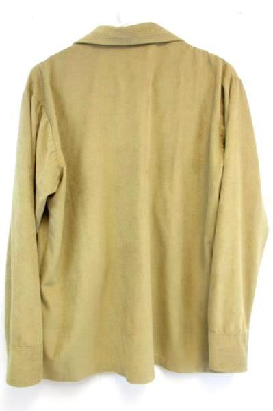 Vintage DAS Retro Button Up Soft Shirt Top Tan Brown Size Large