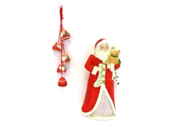 Lot of 2 Santa Themed Decor Items Hand Painted Hanging Bells Figurine Hold Teddy