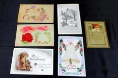Lot of 6 Antique Christmas Cards Postcards Posted Snow Ornament Wreath Holly