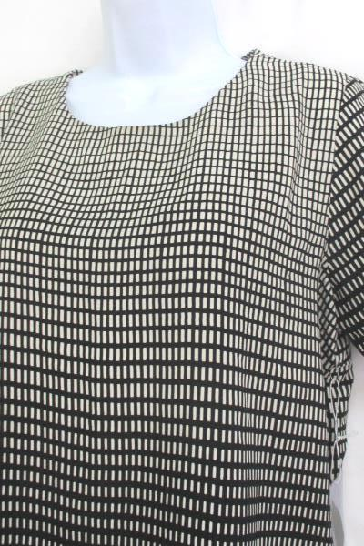 Forever 21 Womens Blouse Creme Black Short Sleeve Shirt Top Size M ~NEW WITH TAG