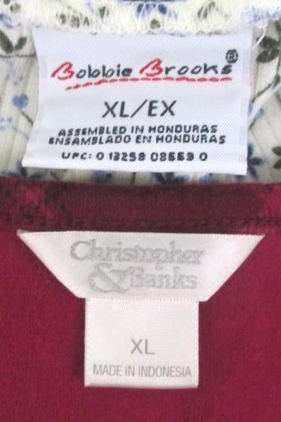 Lot of 2 Women's Tops Shirts Bobbie Brooks Christopher Banks L/S Size XL ~VTG
