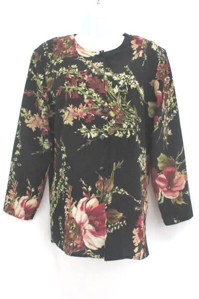 Black Blouse Floral Button Up Women's Petite Medium by Maggie Sweet ~VTG
