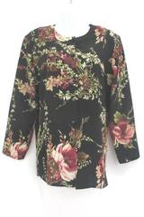 Black Blouse Floral Button Up Women's Petite Medium by Maggie Sweet ~VTG