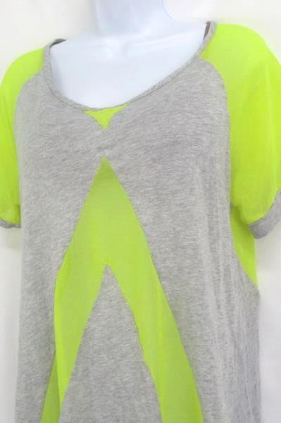 Sloane Rouge Active Tee T Shirt Women's Sheer Yellow Gray Grey Size M Medium ~SR