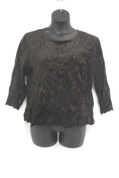 Sequin Alexis Avery Raisin Textured Long Sleeve Blouse Shirt Top Women's Size XL