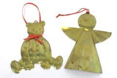 Lot of 2 Vintage Dept 56 Brass Hanging Ornaments Teddy Bear Angel Hong Kong