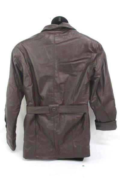 USA Leather Jacket Women's Size Medium Vintage Belted Button Up Removable Liner