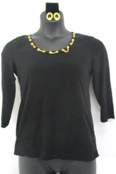 Jones NY Signature Large Blouse Gold Chain Embellished w Clip on Dangle Earrings