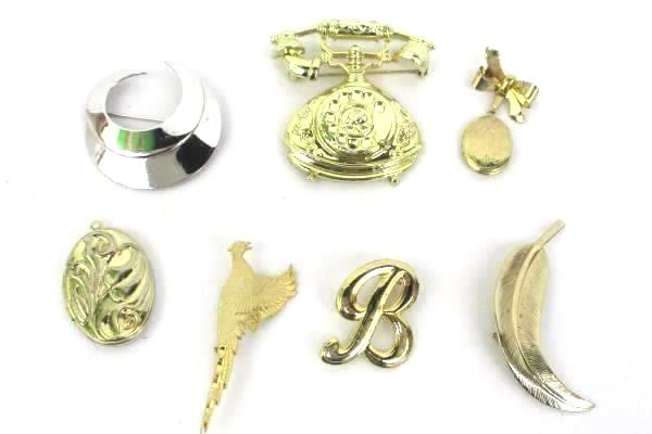Lot of Vintage Brooch Pins Lockets Gold Silver Tone Telephone Sarah Cov Moon