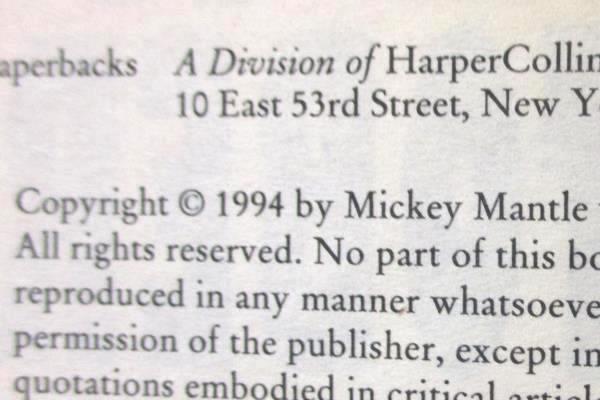Mickey Mantle All My Octobers 1994 Harper Paperbacks Paperback Book