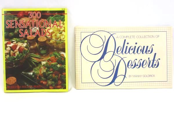 Lot of 2 Vintage Cookbooks 300 Sensational Salads Delicious Desserts