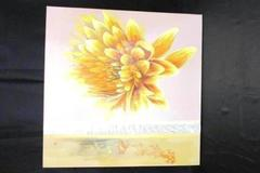 Large Oil On Canvas Painting Bright Yellow Flower Stamped Leaves 31.5 X 31.5