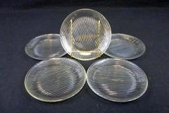 "Vintage Set of 5 Matching Anchor Hocking 6"" Saucer Plates Corrugated Stripe Base"