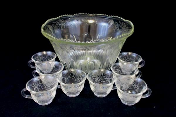 Clear Glass Grape Cluster Leaves Punch Bowl Set With 8 Cups Party Wedding