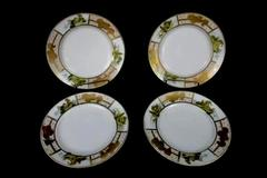 Set 4 Matching Hand Painted Mt Fuji Mark Japan Salad Plates Gold Trim Pictorial