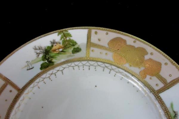 Set 4 Matching Hand Painted Mt Fuji Mark Japan Salad Plates Gold Trim Pictorial