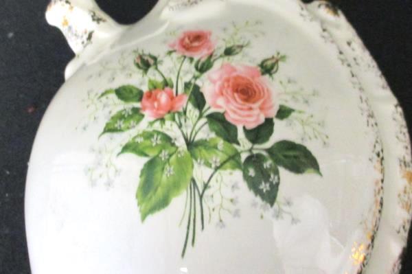 "Ceramic Pottery 8.5"" May Signed Pitcher Vase Gold Glazed Rim Rose Cream Colored"