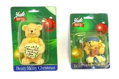 Yule Rite Beary Merry Christmas Ornaments Wish New Bird Nest ~Vintage Lot of 2