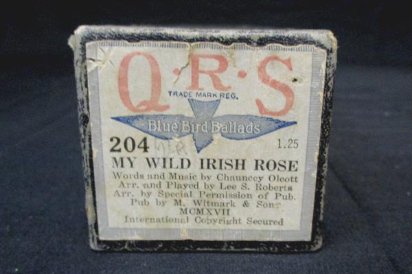QRS Blue Bird Ballad Player Piano Roll My Wild Irish Rose #204 1917 Signed Lee