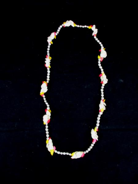 Vintage Authentic Clam Shell Dyed Pink Yellow Blue Seeds Necklace Natural Lei