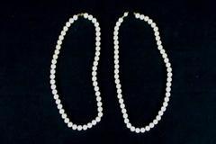 White Iridescent Double Layer Strand Faux Pearl Necklace Aurora Borealis Finish