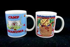 """Set Of 2 White Ceramic Grandma and Grandpa Coffee/Tea Mugs 3.5"""" 3.75"""" Tall"""
