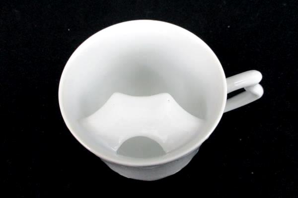 """Vintage Mustache Mug Ceramic White 3.25"""" Tall Embossed Design"""