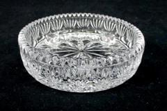 Vintage Candle Holder Heavy Lead Crystal Clear Glass 3 Hole Small Taper Round