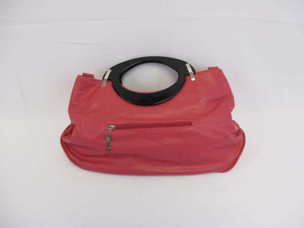 Adam & Alix Salmon Pink Retro Inspired Purse Plastic Handle Vinyl Flower Handbag