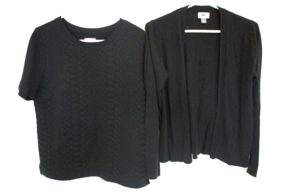 Lot of 2 Women's Black Sweater Cardigan Short Sleeve Quilt Front Old Navy M