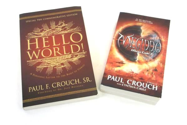 Lot of 2 Paul Crouch Paperback Books: Megiddo Omega Code 2 and Hello World!