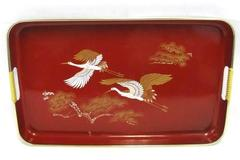 Vintage White Gold Red Ornate Asian Crane Theme TV Tray Breakfast in Bed Ottoman
