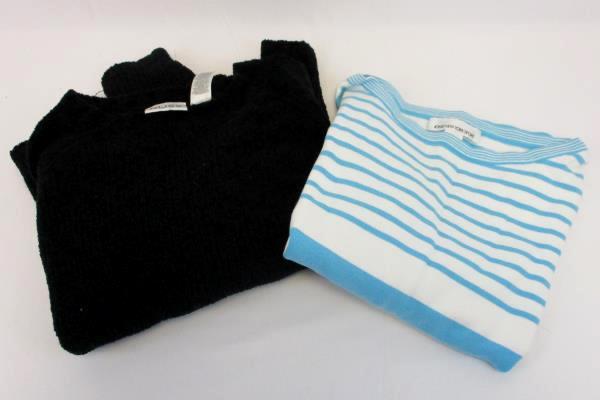 Lot of 2 Women's Sweater Russ Jones New York Black Blue White Size Large