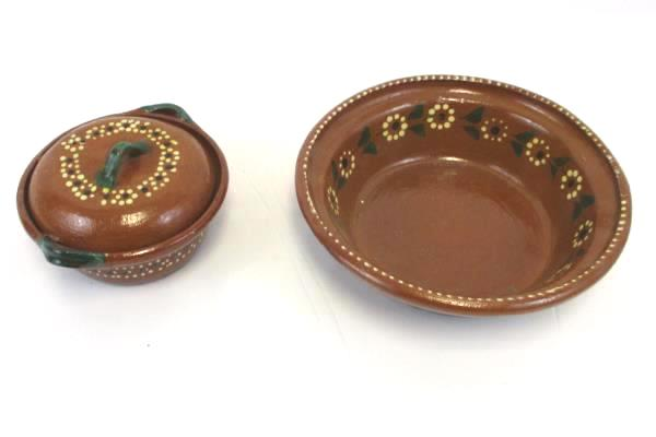 2 Southwestern Style Brown Green Floral Ceramic Pottery Serving Bowl Handmade