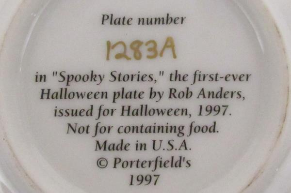 1997 Collectors Plate Spooky Stories by Artist Rob Anders Miniature COA & Stand