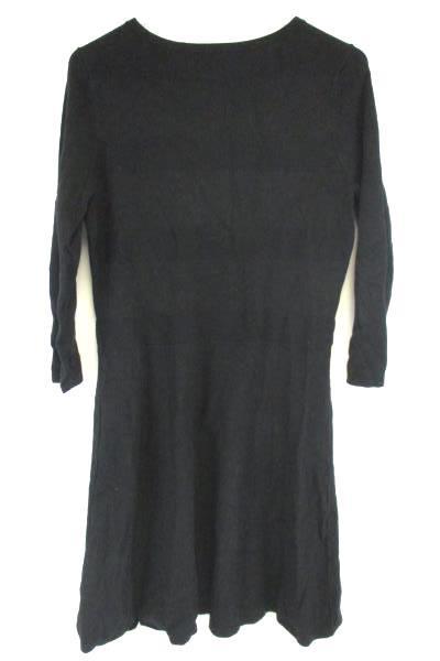 Worthington Black Knit 3/4 Sleeve Sweater Dress A Line Flare Women's Size L