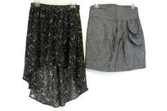 Lot of 2 Women's Juniors Skirts Hi Low Lined xxi High Waist denim Look Sash Med