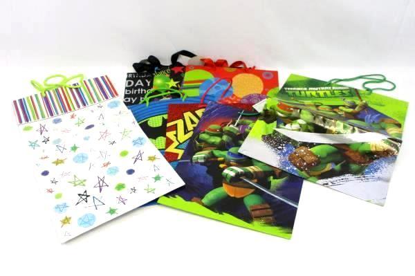 Lot of 8 Birthday Gift Bags TMNT Batman Teenage Mutant Ninja Turtle Kid Party