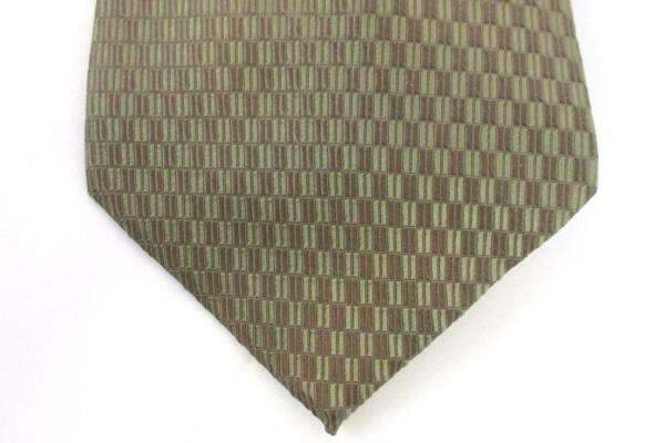 Men's Neck Tie PAUL DIONE Brown Tan Beige Geometric 100% Silk